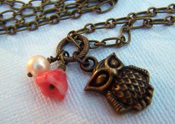 Customizable Owl and Flower Necklace Handmade