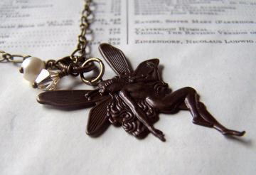 Fairy Necklace Handmade Antiqued Brass