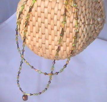 Multi Strand Autumn Necklace with 1.5 inch extension chain with Copper bead pendant