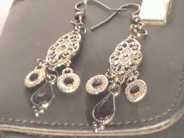 Gunmetal Fringe with Black Teardrop Accent Earrings