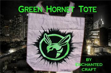 hand painted GREEN HORNET tote, bag, or shopping bag- get your name on it