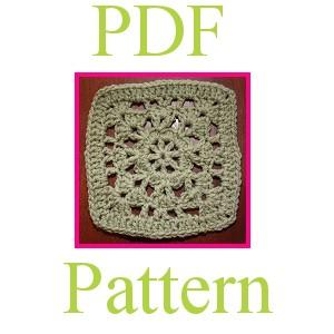 PDF Crochet Pattern - 6 inch Granny Square &quot;Promise&quot;