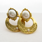 80s Vintage Faux Pearl Gold Tone Scroll Earrings