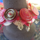 CHARMING IN PINK Vintage Button Bracelet