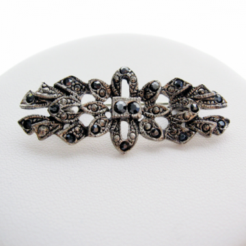 Vintage 80s Faux Marcasite Art Deco Bar Brooch Pin