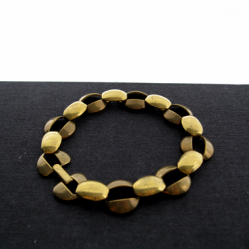 Vintage 15 mm Wide Raw Brass Loop Link 7.5 Inch Bracelet