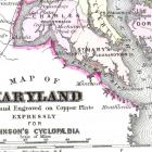 Map Of Maryland 1886 Antique Copper Engraved Map To Frame