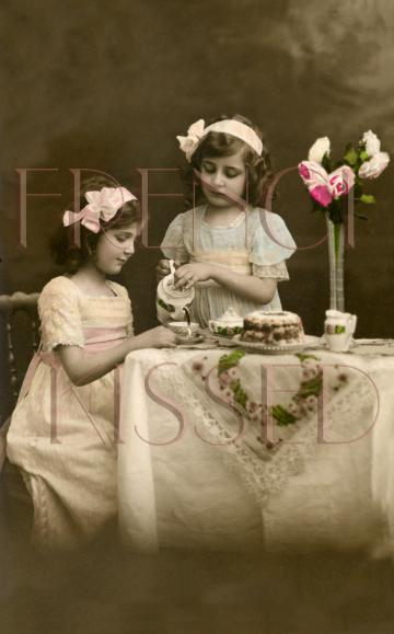 DIGITAL Scan French Postcard Edwardian Girls TEA PARTY invitation
