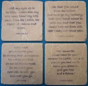 Set of 4 Bible Verses on Tumbled Tiles