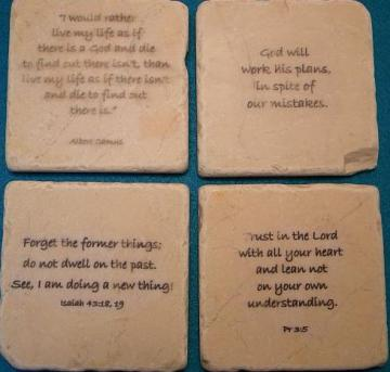 Set of 4 Bible Verses and Quotes on Tumbled Tiles