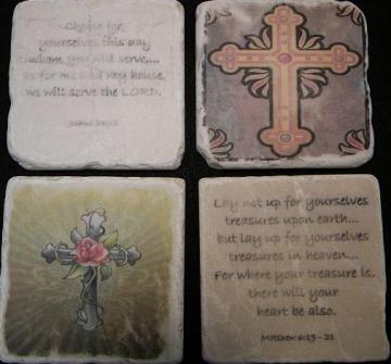 Set of 4 Bible Verses, Crosses and Quotes on Tumbled Tiles