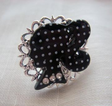 Black polka dot Barbie silhouette ring
