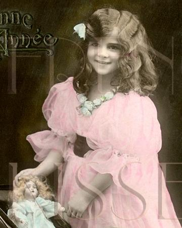 DIGITAL scan VICTORIAN  girl with DOLL buggy, dollhouse Antique French postcard