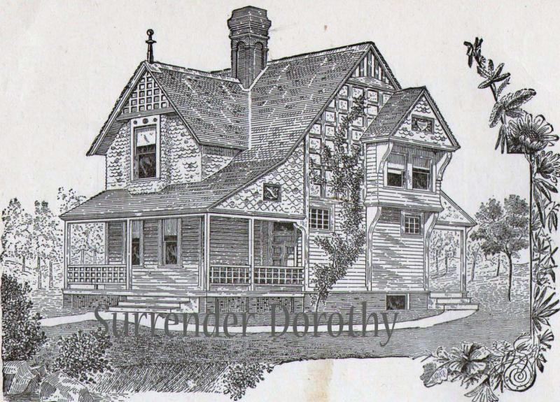 1881 Small Country Cottage Plans Antique Victorian Print