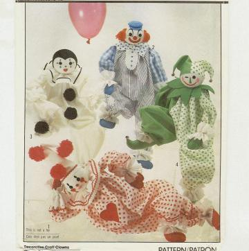 Decorative Clown Doll pattern by Simplicity 8379 - 20 inches tall - dated 1992