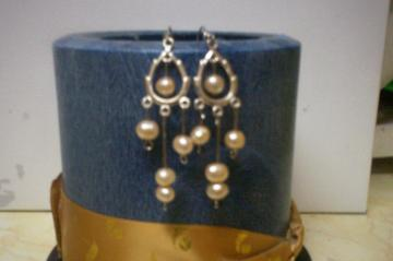sterling silver and genuine pearl earrings