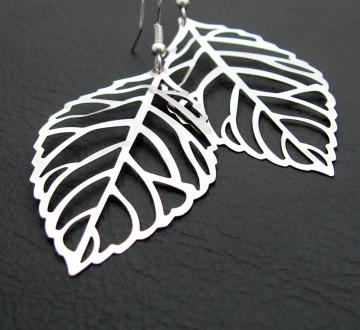 Winter Leaf earrings: silver skeleton leaves on sterling plated ear hooks