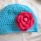 Baby Girl Turquoise Handmade Crochet Beanie with Fuchsia Rose Large Flower. Also available with Large Light pink organza Flower.