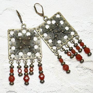 Brass Chandelier Earrings with Czech Carnelian Opal