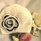 White Baby Girl Crochet  Hat with Black and White Flower