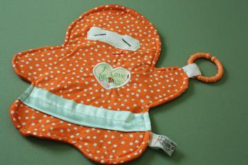 Security Blanket Lovey Silky Orange Polka Dot Ninja