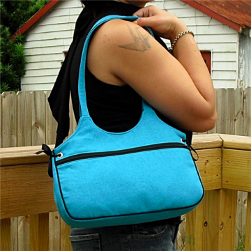 Tie Side Tote Bag - Turquoise Linen Blend