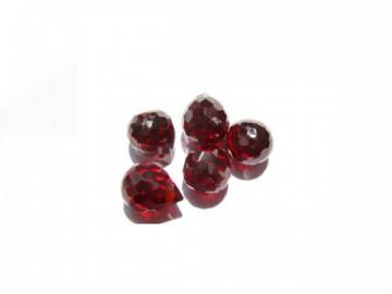 Pear Drop Onion Faceted garnet crimson Cubic Zirconia Bead 6x8mm 50PCS