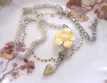 Dogwood & Daisies Collection Enamel Rhinestone OOAK Necklace