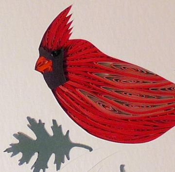 Quilled Cardinal handcrafted wall art