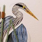 Quilled Blue Heron Turned handcrafted framed wall art