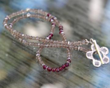 Garnet and Smokey Quartz Necklace with Earrings