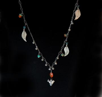 Falling Leaves - turquoise, garnet necklace