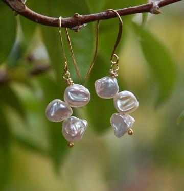 Snow Drops- White Keishi Gold Pearl earrings
