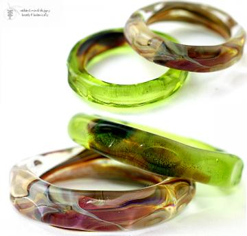 Lampwork Beads OLIVE RAKU Organic Silder Rings Handmade Glass