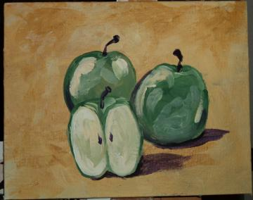 Granny Smith Apples (acrylic kitchen painting)