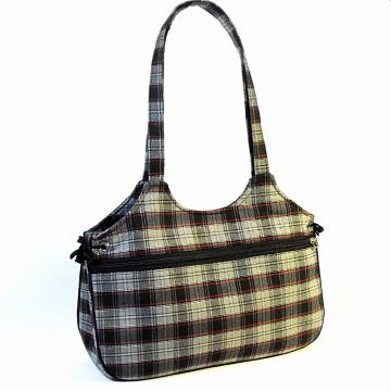 Tote Bag With Tie Sides - Grey and Red Plaid