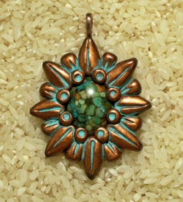 Coppery Star Pendant with Howlite Focal Center