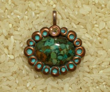 Howlite oval pendant with Swarovski crystal polymer clay