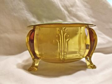 Vintage Celluloid and Amber Glass Footed  Trinket/ Notions Box