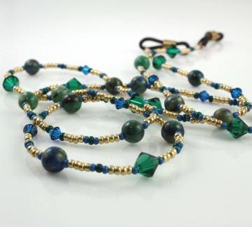 Emerald and Deep Blue Eyeglass Lanyard