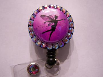 ID BADGE HOLDER, RETRACTABLE REEL, FAIRY WITH SWAROVSKI CRYSTALS