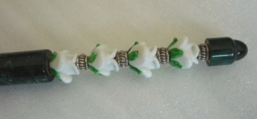 Lampwork Glass Bead Pen Forest Green White Roses