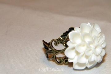 White cabochon ring