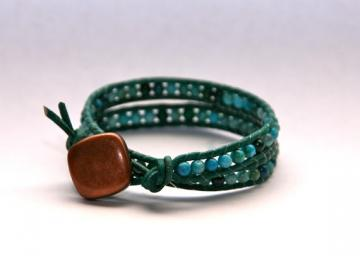 Meg-Leather Wrap Beaded Bracelet