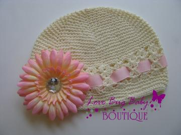 Kufi Hat with Flower and Ribbon