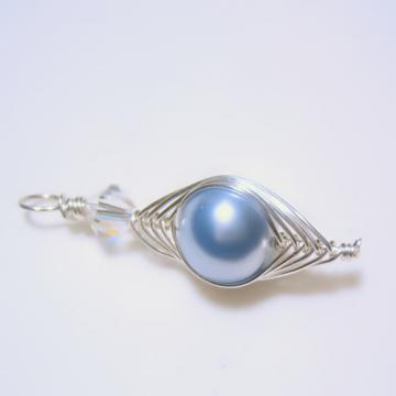 Herringbone Pendant w/Light Blue Swarovski Pearl