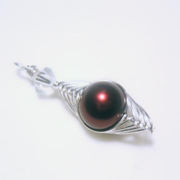 Herringbone Pendant w/Garnet Glass Pearl
