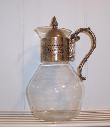 Vintage - Glass Pitcher with Silver