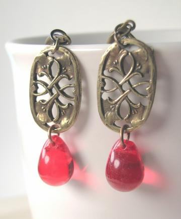 red teardrop art nouveau earrings