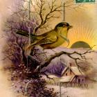 Golden Easter Sunrise BIRD Purple Pastoral scene French antique postcard DIGITAL scan
